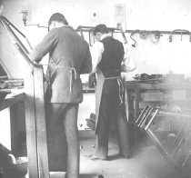 Orville Wright at work in Shop