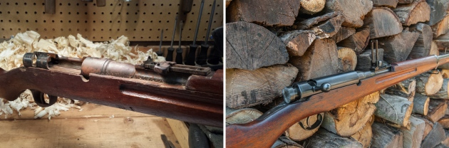 Arisaka receiver before & after restoration